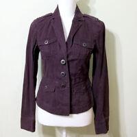 LOFT Classic Jacket Aubergine Size 4 Women's Small Cotton Plum Purple