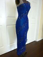 BLUE SILK BEADED ONE SHOULDER ASYMMETRICAL BALLROOM LATIN DANCE DRESS