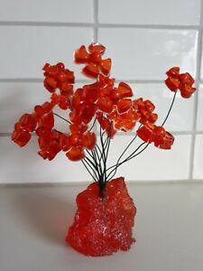 Vintage Retro Orange Crystal Craft Flowers Figurine