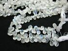"""10"""" Natural Blue Fire Play RAINBOW MOONSTONE Faceted Pear Drop Beads Strand"""