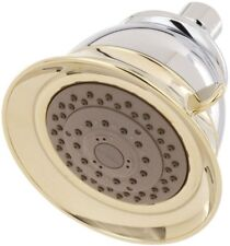5 in. Shower Head 4-Spray, Rubber Nozzle and Swivel Ball, Chrome/Polished Brass