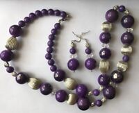 Purple Chunky Plastic Bead Necklace & Dangle Pierced Earring Fashion Jewelry Set
