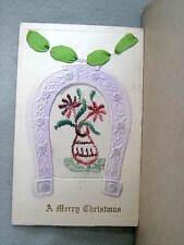 A MERRY CHRISTMAS - Horseshoe - 1916 POSTMARK - EMBROIDERED SILK POST CARD