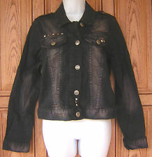 Abbey Dawn Motorcross Stud Button Black Denim Biker Jacket XL By Avril Lavigne