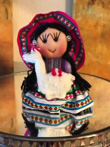 Little Colorful Doll, Holding Her Knitted Lama, Soft Face & Body