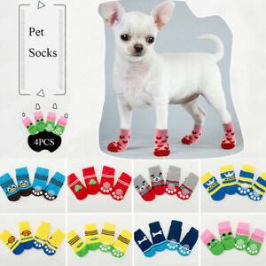 4pcs Pet Socks Puppy Dog Knit Anti Slip Sock Cartoon Cat Cute Warm Paw Sock US