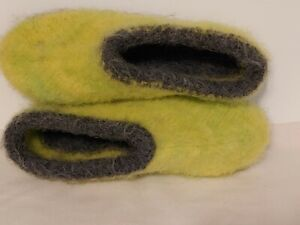 Handmade knit felted 100% wool woman's slippers size 8 - 8.5 bootie clogs dorm