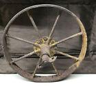 "Antique Old WheelBarrow Metal Wheel With Axle 15"" Tall"