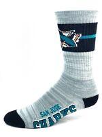 San Jose Sharks Hockey Light Gray RMC Crew Socks with Band and Logo