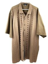 SILVERSILK Knit Sweater Shirt Big Mens Sz 5XL Button Down Casual Dress Tan NWOT