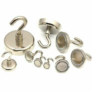 Small & Large NEODYMIUM MAGNETIC HOOKS ~ Fridge Magnets Chrome Hook HEAVY DUTY