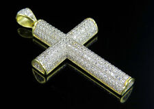 Sterling Silver Lab Diamond 3D Semi Cylindrical Cross Pendant Yellow Gold 2.0 In