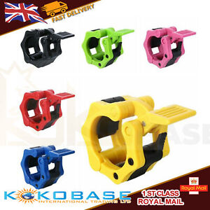 Olympic 2'' Spinlock Collars Barbell Dumbell Clips Weight Bar Lock Pair 50mm UK