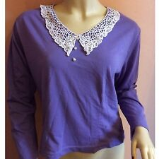 Vintage Top Lace Collar 80's Purple