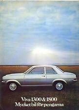 Vauxhall HC Viva 1300 1800 2300 1972 Swedish market sales brochure