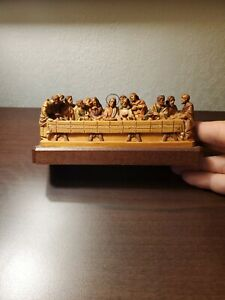 Vintage Miniature ANRI Jesus Last Supper Painted Wood Carving - Made in Italy.