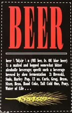Beer Definition Alcoholic Beverage Brewski Cold One Poster 24x36