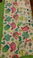 "Handmade Baby Quilt 34x30"" Unisex, Animals Owls Bugs Fox Giraffe Elephant Green"