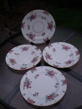 Four Crown Staffordshire Side Plates decorated with various flowers c1915