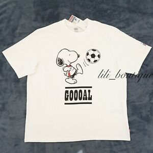 NWT Levi's x Peanuts Men Oversized Graphic Tee Cotton Goooal Snoopy White Size L