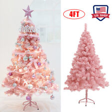 4Ft Christmas Tree Pink Flocking Cedar Faux Festival Decorations Xmas Tree Hot