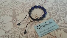 CHAMBALA ADJUSTABLE BRACELET WITH ROYAL BLUE AND GREY BEADS - FOR PEACE