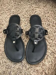 Tory Burch Miller Black Leather Sandals Size 10