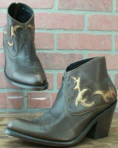 Women's Liberty Black Western Booties Brown Zip Back Metallic Accents Size 7 M