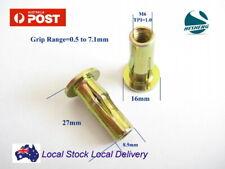 Qty 10 M6 Yellow ZP Steel Flange Plusnut Plus Nut Rivnut Insert Nutsert Grip 7mm