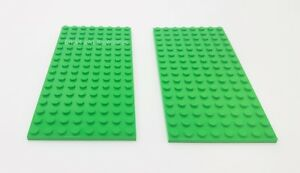 2 x LEGO 8x16 BRIGHT GREEN Plate Baseplate Base - 8x16 STUDS (PINS) - Brand New