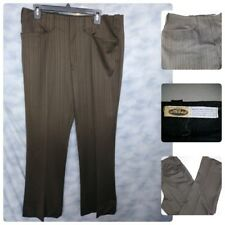 Vtg 1970S Lasso Brown Striped Pants Mod Western Golf Leisure Poly Pants 36X30