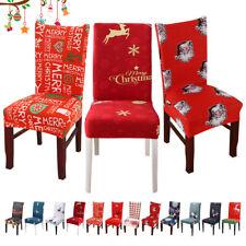 Santa Claus Elk Deer Spandex Dining Room Home Hotel Christams Chair Slipcovers