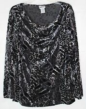 BonWorth Women's XL LS Sheer & Velvet Shiny Leopard Print w/ Draped Neck Blouse