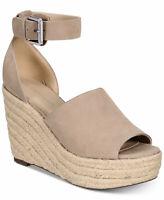Marc Fisher Womens Cala Leather Peep Toe Casual Platform, Beige, Size 10.0