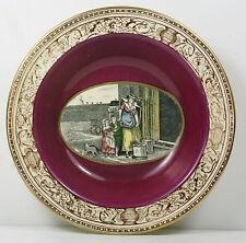 Adams - CRIES OF LONDON - SMALL DESSERT BOWL - PURPLE BAND WITH LEDA BORDER