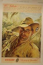 Vintage - September 1945 - Original - Full Page - Dunlop - Colour Advertisement.