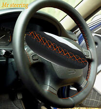FOR NISSAN PATROL 1997-10 REAL ITALIAN LEATHER STEERING WHEEL COVER ORANGE STITC