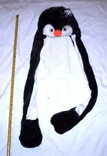 Penguin Plush Animal Head Fluffy Earmuff Winter Beanie Hat Scarf Mittens Gloves