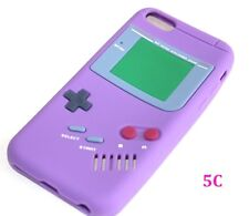 Apple iPhone 5C - SOFT SILICONE RUBBER SKIN CASE COVER PURPLE GBA GAMEBOY PLAYER