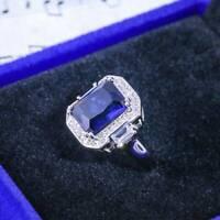 Vintage 925 Silver Aquamarine Gem Engagement Women Wedding Ring Wholesale Sz6-10