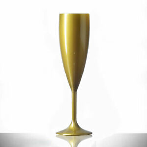 12 x Gold Plastic Champagne Flutes 6.6oz Reusable As Seen On Love Island