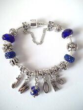 European Bead Bracelet Cobalt Blue Crystal and Beads JWorg