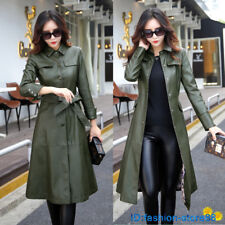 2017 Winter Women's Leather Jacket Belt Long Windbreaker Coat Plus Size