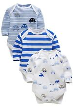 ВNWT NEXT Boys Playsuits Babygrows • Cars Bodysuits 3pk • 100% Cotton • 1 Month