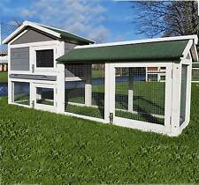 LARGE RABBIT HUTCH GUINEA PIG HUTCHES RUN 2 TIER DOUBLE DECKER CAGE GREY
