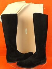 NIB MIU MIU PRADA BLACK STRETCH SUEDE KNEE HIGH TALL BACK ZIP FLAT BOOTS 41