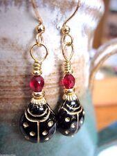 EARRINGS Artisan USA Made Black LadyBug Garnet Red Lady Bug Christmas Gold Hook