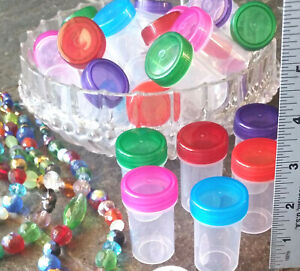 "12 Pill 2"" Bottles 3/4 oz Refill Plastic Jars Container Color Cap DecoJars #3309"