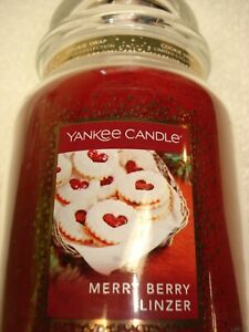22oz Yankee Candle. MERRY BERRY LINZER. Raspberry. Brand New. Large Jar. Holiday