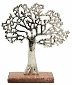 Silver Metal Tree Decorative Ornament On Wooden Base - Small